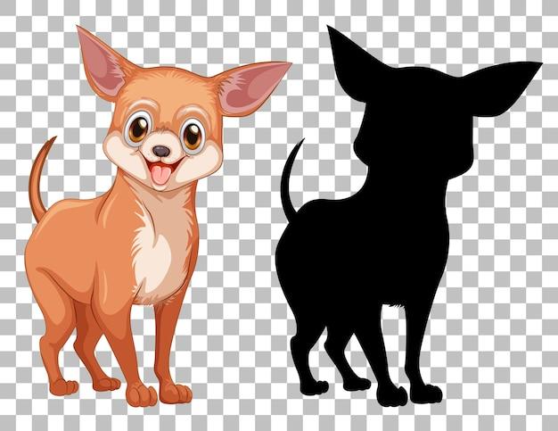 Cachorro chiwawa e sua silhueta