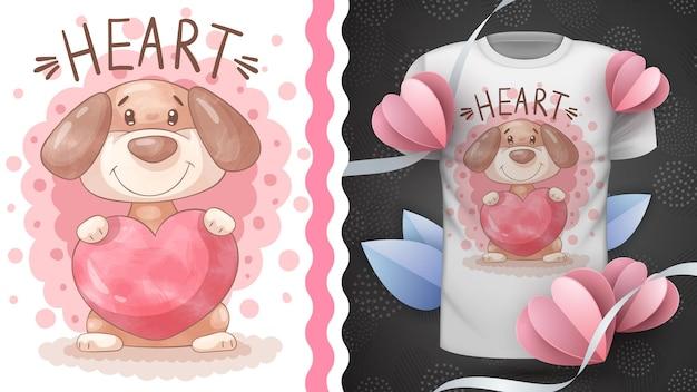 Cachorro com coração - animal infantil personagem de desenho animado
