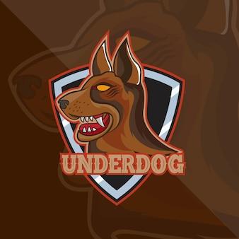 Cachorro com escudo, mascote, logo design, modelo de logotipo e equipe de camisetas