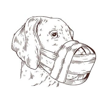 Cachorro com focinheira desenhado à mão