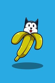 Cachorro com ilustração de desenho animado de banana