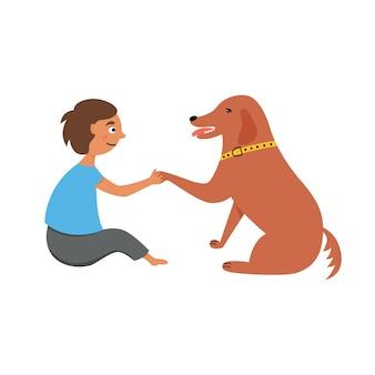 Cachorro dando patas para uma criança