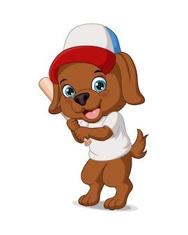 Cachorro de desenho animado jogando beisebol