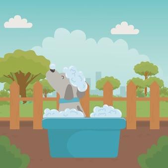 Cachorro de desenho animado tomando banho