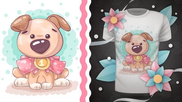 Cachorro de pelúcia, ideia para estampa de camiseta. vhanddraw
