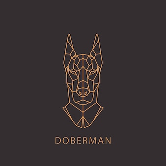 Cachorro doberman em estilo moderno geométrico.