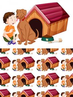 Cachorro e menino