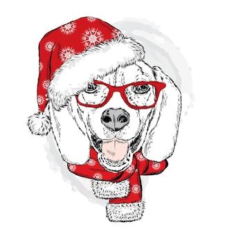 Cachorro engraçado com chapéu de papai noel, óculos e lenço. ilustração vetorial