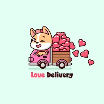 Cachorro engraçado conduzindo um caminhão cor-de-rosa e transportando corações