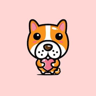 Cachorro fofo abraçando coração de amor