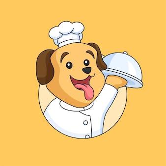 Cachorro fofo, chef de restaurante segurando uma bandeja de comida coberta, mascote, ilustração vetorial de desenho animado