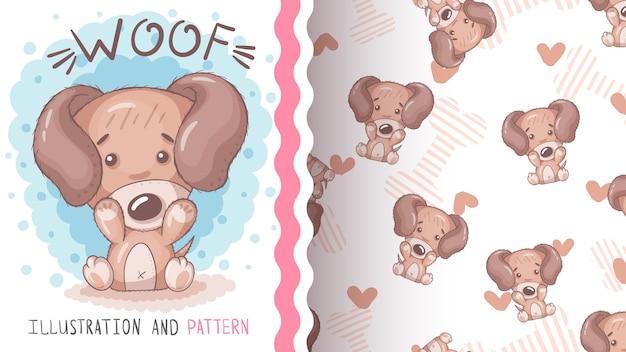 Cachorro fofo com coração - padrão uniforme