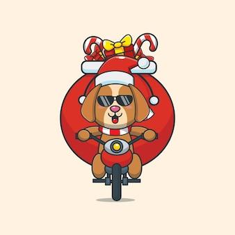 Cachorro fofo com fantasia de natal andando de motocicleta ilustração fofa dos desenhos animados de natal