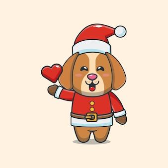 Cachorro fofo com fantasia de papai noel. ilustração fofa dos desenhos animados de natal