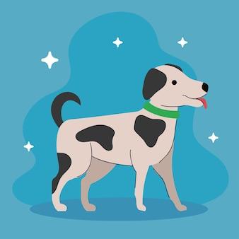 Cachorro fofo com ilustração manchada de preto