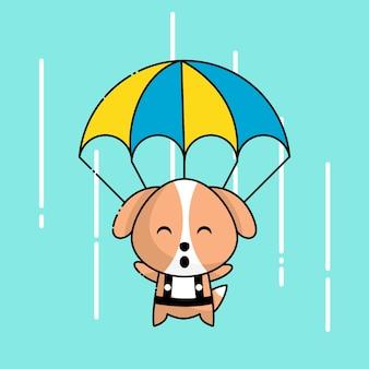 Cachorro fofo com paraquedas acima