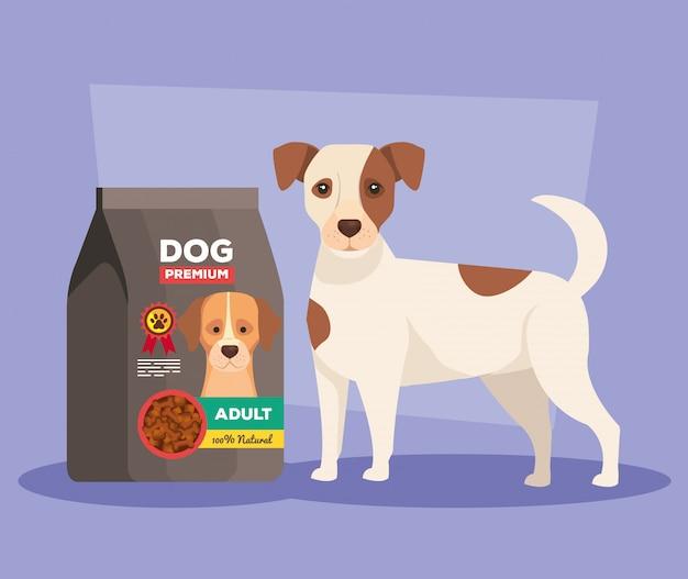 Cachorro fofo com saco comida animal