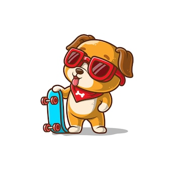Cachorro fofo com um skate isolado no branco