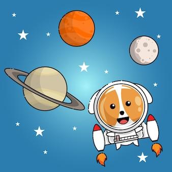 Cachorro fofo com uniforme de astronauta voando entre saturno marte e a lua