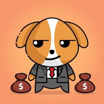 Cachorro fofo com uniforme de chefe e dinheiro na bolsa
