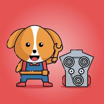 Cachorro fofo com uniforme de mecânico e chave inglesa na mão