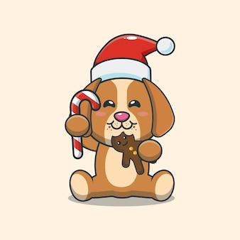 Cachorro fofo comendo biscoitos de natal ilustração fofa dos desenhos animados de natal