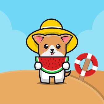 Cachorro fofo comendo melancia na praia ilustração dos desenhos animados