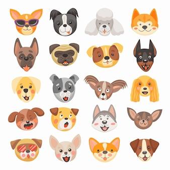 Cachorro fofo e cachorrinho rostos desenho animado de animais de estimação