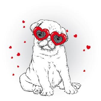 Cachorro fofo e corações dia dos namorados isolado no branco