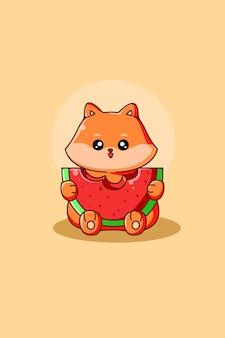 Cachorro fofo e feliz com ilustração de desenho animado de melancia