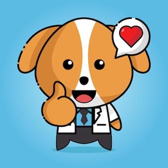 Cachorro fofo em uniforme de médico com coração