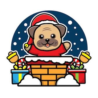Cachorro fofo na chaminé personagem de desenho animado ilustração de conceito de natal