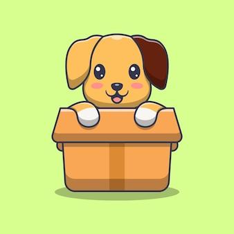 Cachorro fofo na ilustração dos desenhos animados da caixa