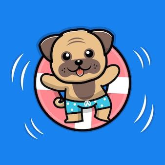 Cachorro fofo nadando com ilustração de anel de natação