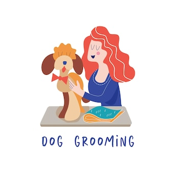 Cachorro fofo no salão de beleza mulher cuidando do cachorro conceito de cuidados com o cachorro