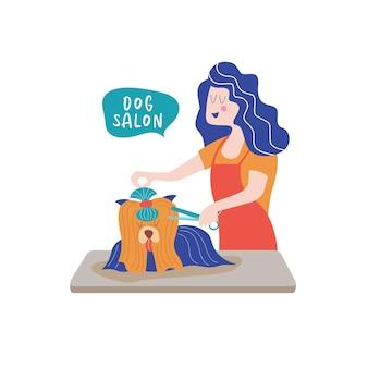 Cachorro fofo no salão de beleza mulher faz um cachorro para cortar o cabelo conceito de cuidados com o cão