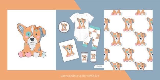 Cachorro fofo para produtos e padrões sem emenda