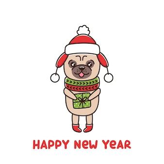 Cachorro fofo raça pug com chapéu e lenço segurando um presente