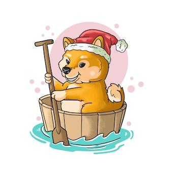 Cachorro fofo ruge o barco ilustração estilo grunge