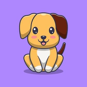 Cachorro fofo sentado ilustração dos desenhos animados