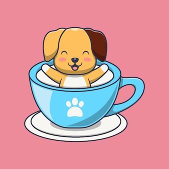 Cachorro fofo tomando leite