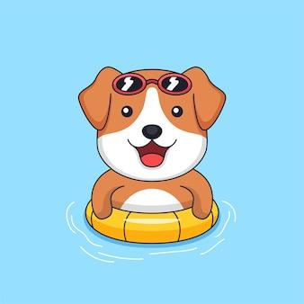 Cachorro fofo usando óculos escuros e pneu flutuando na ilustração do mascote do animal da piscina