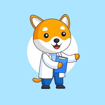Cachorro fofo vestindo jaleco branco com ilustração de prancheta para trabalhador de hospital de ocupação médica