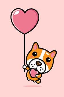 Cachorro fofo voando com um balão do amor