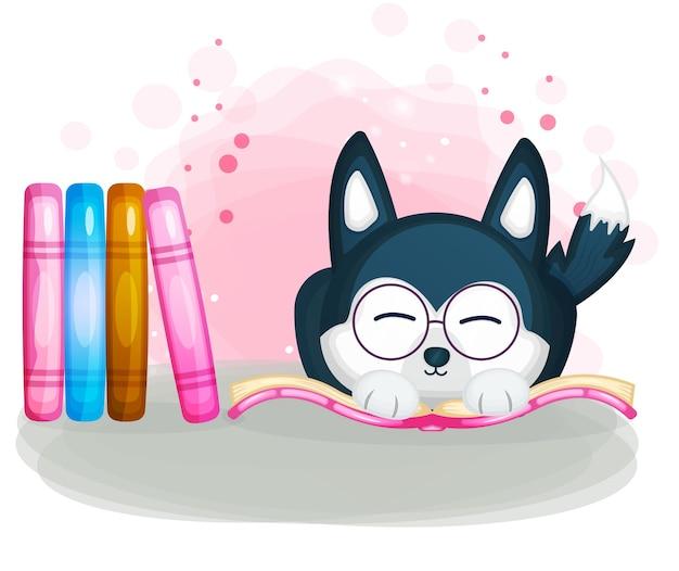 Cachorro husky fofo lendo ilustração de livro