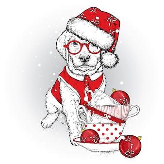 Cachorro lindo com copos de natal