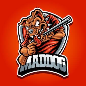 Cachorro louco com logotipo de mascote de arma