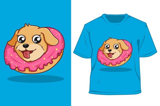 Cachorro maquete com ilustração dos desenhos animados de donuts