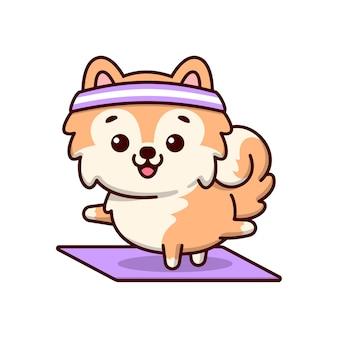 Cachorro marrom bonito sorrindo e fazendo uma posição de ioga em um tapete roxo no estilo desenhos animados