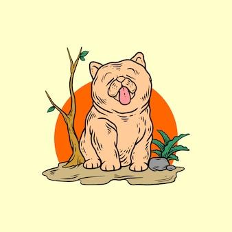 Cachorro na natureza desenho à mão